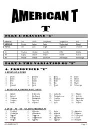 English Worksheets: American T and R