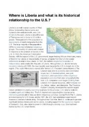 English Worksheets: Where is Liberia and what is its historical relationship to the US?