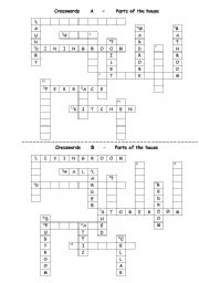 English Worksheet: Parts of the house crosswords - pair work, key is added