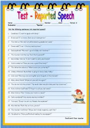 English Worksheet: Test - reported speech - version A