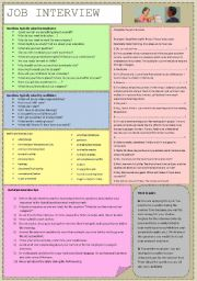 English Worksheet: JOB INTERVIEW - vocabulary, tips, gaps filling and speaking (fully editable)