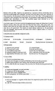 English Worksheet: Argentina Dirty War 1976 - 1983