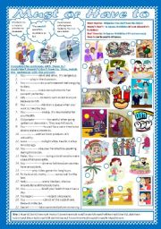 English worksheet: Must or Have to (+Key)