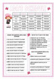 English Worksheets: Ada�s Schedule