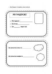 English Worksheet My Passport