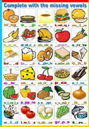 English Worksheets: FOOD - COMPLETE WITH THE MISSING VOWELS (B&W VERSION INCLUDED)
