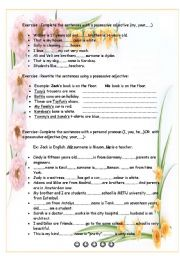 English Worksheet: Personal pronouns and possesive adjectives