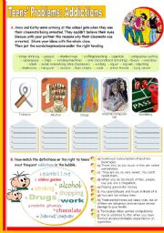 English Worksheets: Teens� problems:  Addictions  -  Vocabulary Input on the topic for Intermediate students