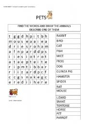 English Worksheet: pets wordsearch