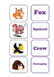 English Worksheet: Forest or Small Animals - memory game!