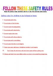 English Worksheet: Safety Rules to be followed at home
