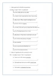 English Worksheets: Make questions for the following answers