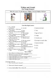English Worksheets: Wallace and Gromit-The Wrong Trousers