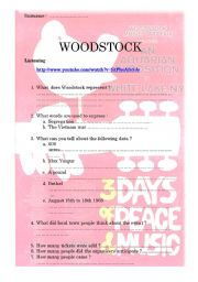 English Worksheet: PROTEST SONGS IN THE 60�S (PART 3) Woodstock listening