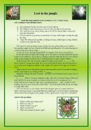 English Worksheets: Lost in the jungle