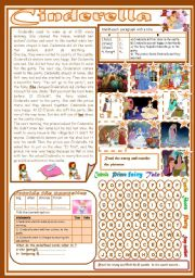 English Worksheet: Cinderella(Totally Editable)