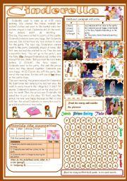 English Worksheet: Cinderella(Totally Editable)