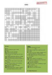 English Worksheets: money crosswords