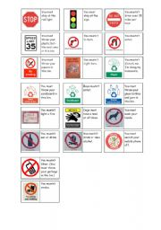 English Worksheets: dominoes permission / prohibition