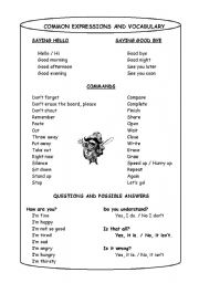 English Worksheets: Common Expressions and Vocabulary