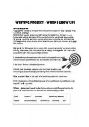 English Worksheets: When I grow up