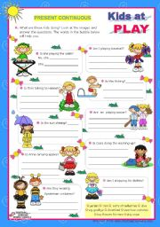 English Worksheet: Kids at play - Present Continuous - Yes/No Questions (5) - every day actions