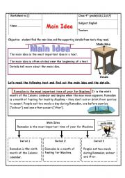 English Worksheet: main idea