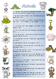 English Worksheets: Find out the Animals