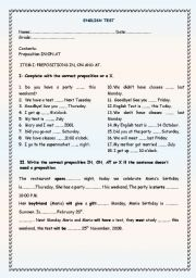test about prepositions in, on and at