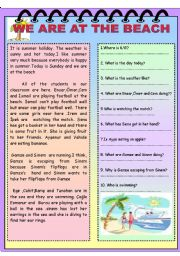 English Worksheet: We are at the beach