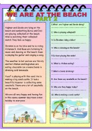English Worksheet: We are at the beach part 2