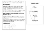 English Worksheet: A food chain