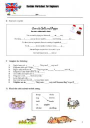 English Worksheets: REVISION WORKSHEET FOR BEGINNERS - Part 1 B