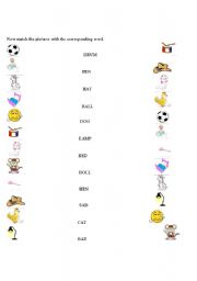 English Worksheets: easy words, beginning writing part2