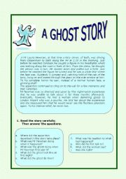 English Worksheets:  A GHOST STORY