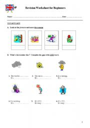 English Worksheets: REVISION WORKSHEET FOR BEGINNERS - PART 1A