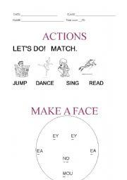 English Worksheets: actions and make face