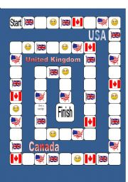 English Worksheet: Board Game: UK/USA/Canada