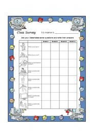 English Worksheet: Class Survey