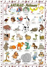 English Worksheet: ANIMALS - PICTIONARY