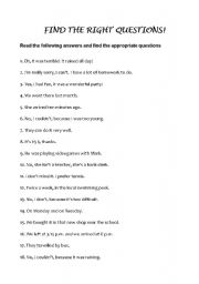 English Worksheets: FIND THE QUESTIONS