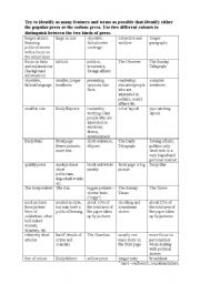 English Worksheets: tabloids and broadsheets