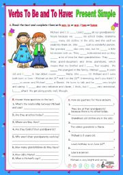 English Worksheet: Verbs to be and to have - Simple Present - Affirmative, negative and Interrogative forms (4)