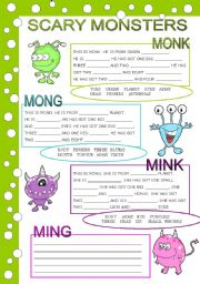English Worksheet: SCARY MONSTERS (body parts, has got)