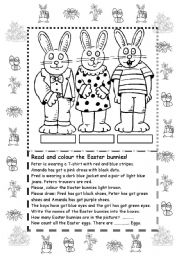 English Worksheets: Colour the Easter bunnies