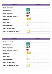 English Worksheets: Questions and answers 1st level