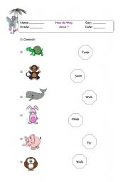 English Worksheets: How do they move?