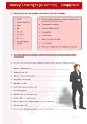 English Worksheet: Money�s too tight (to mention) Simply Red Song Lyrics