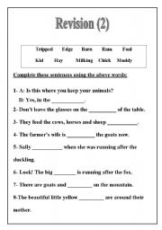 English Worksheets: revision 2