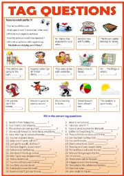 English worksheet: TAG QUESTIONS ( b/w & Keys)